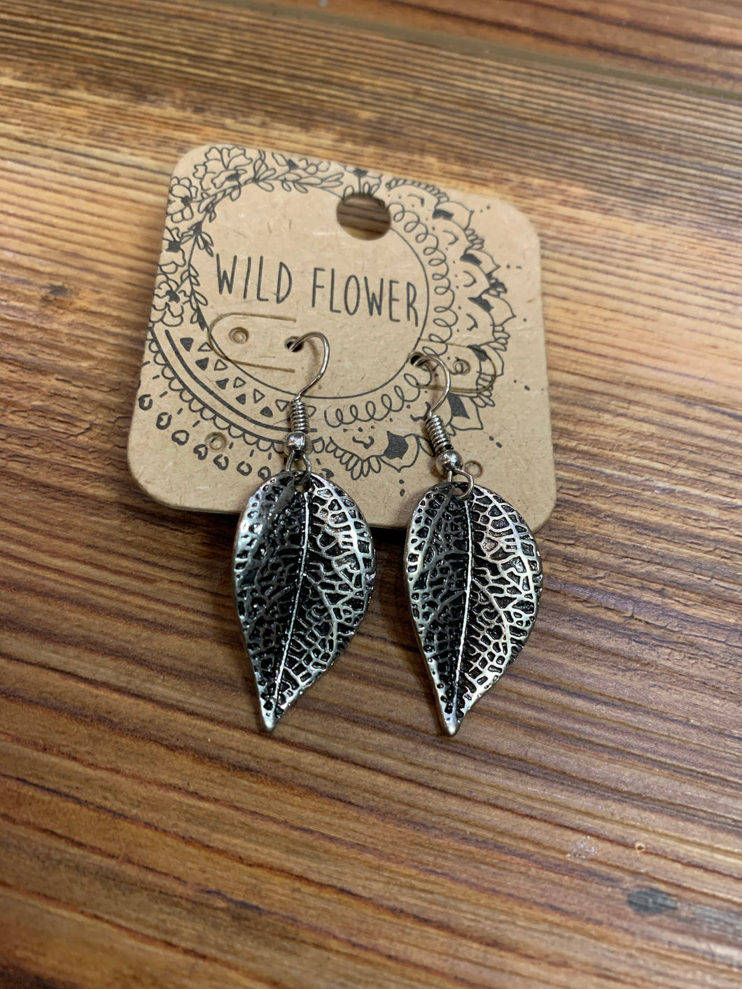 Metal Leaf Dangle Earrings