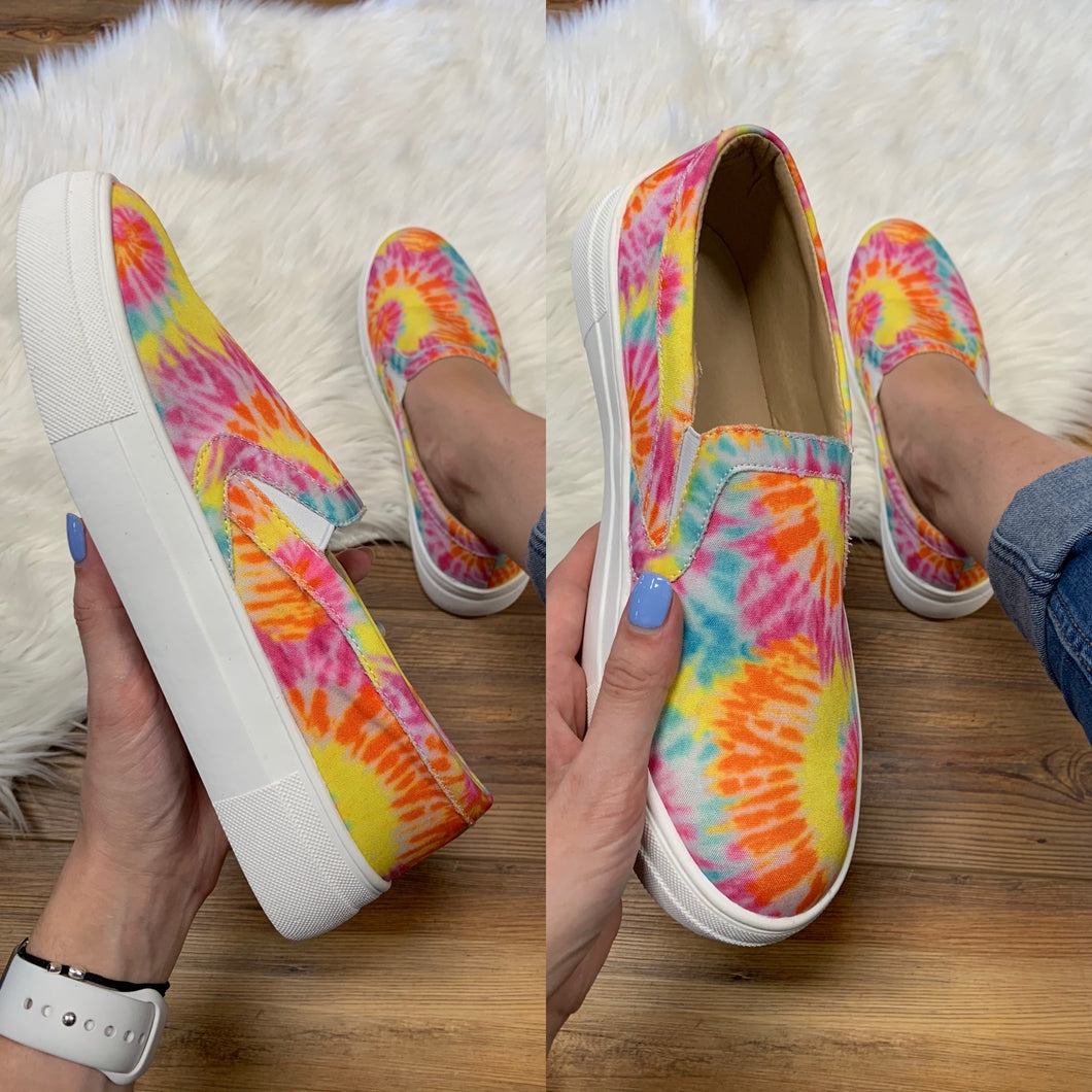 Yellow Tie Dye Slip On Canvas Sneaker