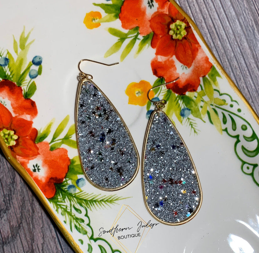 Glitter & Stars Teardrop Earrings - Silver