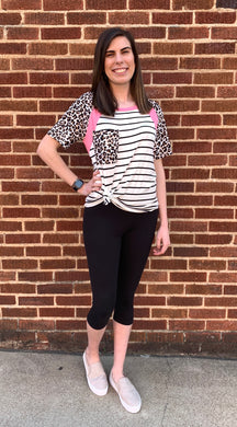 Color Block Leopard Accent Striped Raglan Top Blouse - USA Made