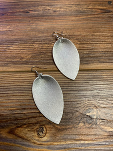 Faux Leather Leaf Teardrop Earrings - Silver
