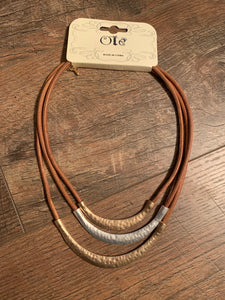 Hammered Metal Leather Cord Collar Neckace - Brown
