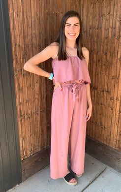 Mauve Romper Tube Jumpsuit - Made In USA