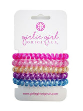 Load image into Gallery viewer, Telephone Cord Hair Ties - Hot Pink/Blue Glitter - TC14