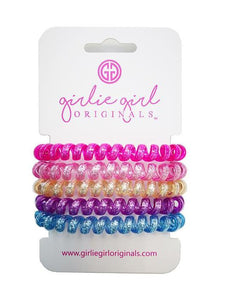 Telephone Cord Hair Ties - Hot Pink/Blue Glitter - TC14