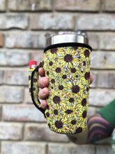 Load image into Gallery viewer, Bees & Sunflowers Neoprene 20oz Tumbler Holder with Pocket Handle-Fits YETI®