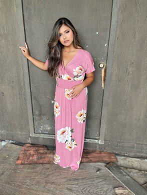 Jordan Pink Floral Print Surplice Maxi Dress - USA Made