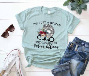 Southern Julep Just A Woman Who Loves Her Police Officer Soft Tee