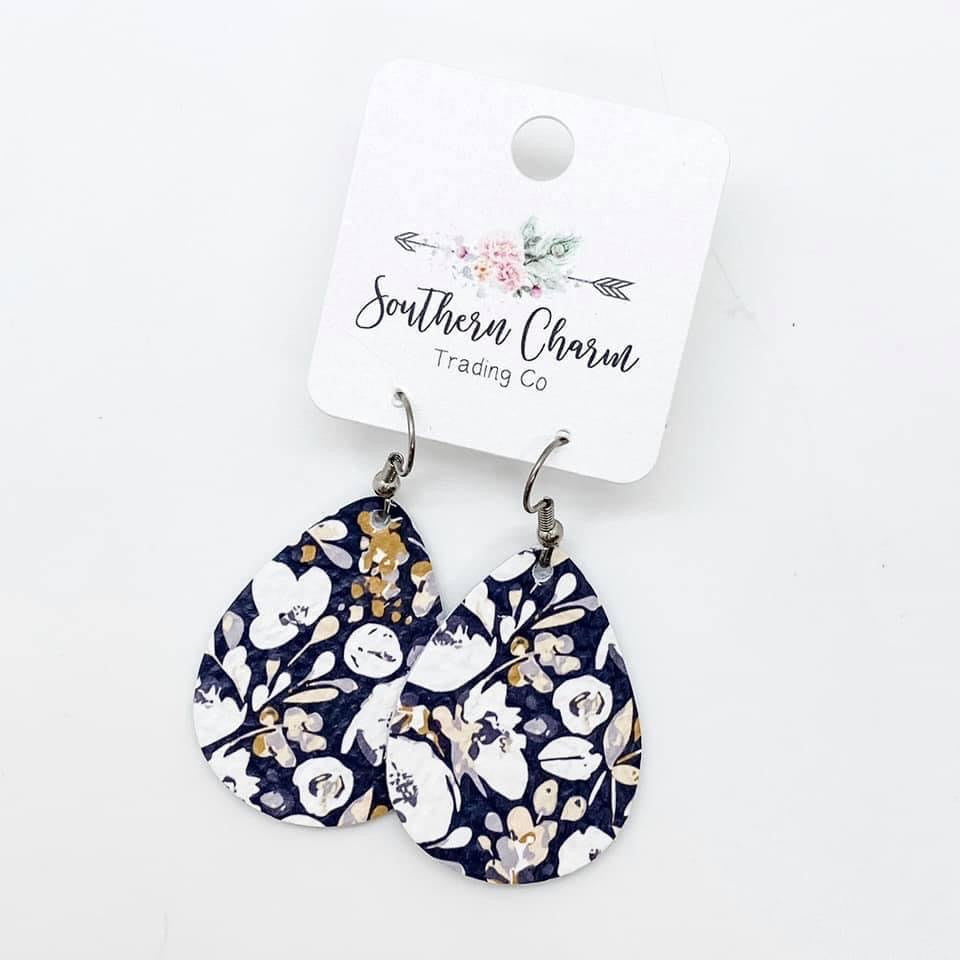 The Mallory Earring - Navy Floral Itty Bitties