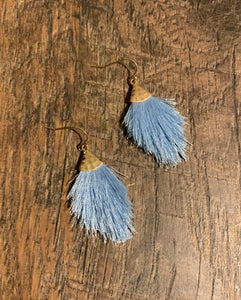 Feathered Fringe Drop Earrings - Periwinkle