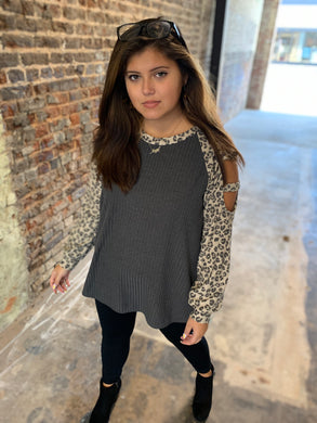 Charcoal & Leopard Raglan Top w/ Cut Out Long Sleeves  - USA MADE