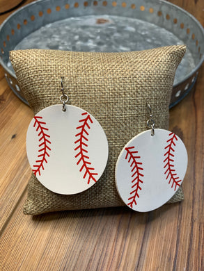 Faux Leather Round Baseball Earrings