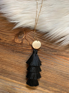4-Tier Tassel Drop Necklace - Black