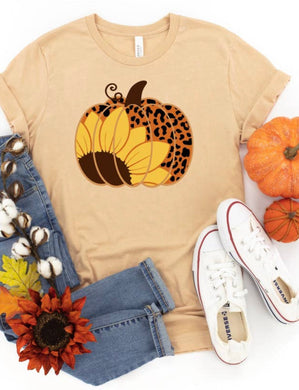 PREORDER - Sunflower Leopard Pumpkin Fall Boutique Soft Tee
