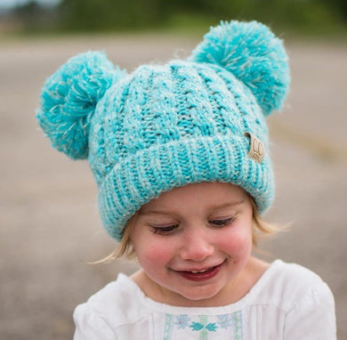 Kids CC Double Pom Solid Color Knit Beanies - Kid24