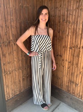 Ivory Striped Sleeveless Tube Jumpsuit - Made in USA