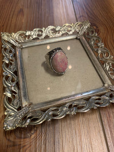 Hint of Pink Boho Hammered Silver Ring