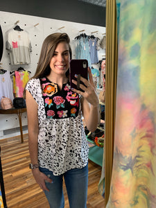 Emma Floral Embroidered Peplum Top