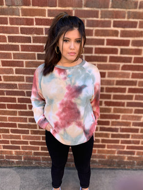 Taupe & Green Tie Dye Waffle Knit Raglan Sweater Top - USA MADE