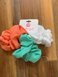 Pack of 3 Assorted Hair Scrunchies - White, Mint, Coral - SCR-3-SOL