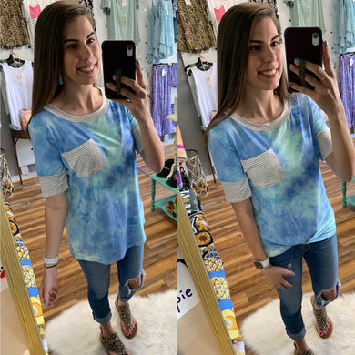 Mint & Blue Tie Dye Top with Striped Pocket & Sleeve Accents - Made In USA