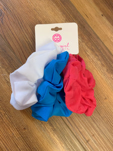 Pack of 3 Assorted Hair Scrunchies - Pink, Blue, White (SCR1)