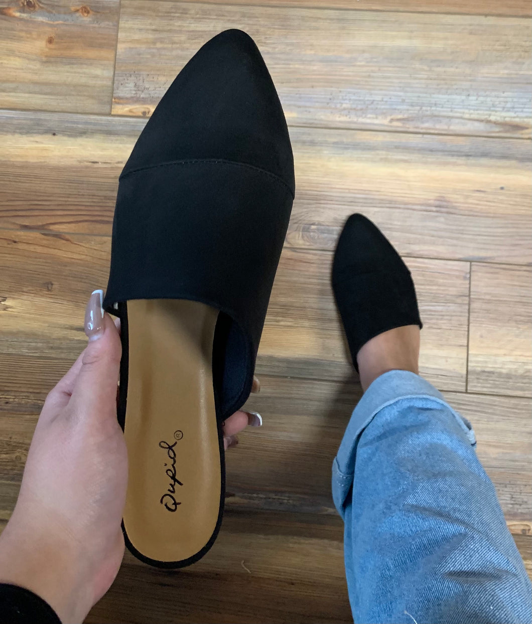 The Jasmine Mule - Faux Suede - Black