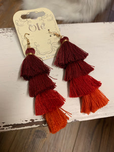 Tassel 4-Tier Drop Earrings - Red
