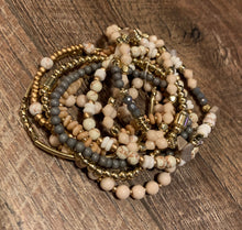 Load image into Gallery viewer, Multi 9 Strand Semi-Precious Beaded Bracelets - Gold/Ivory