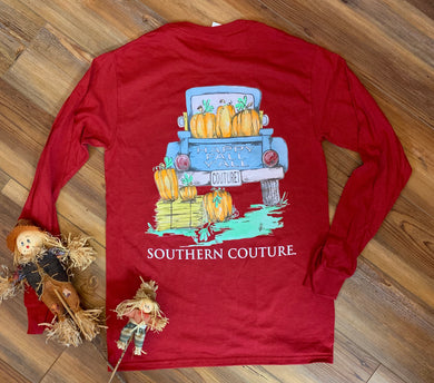 (D) Happy Fall Y'all Vintage Truck Tee - Long Sleeve