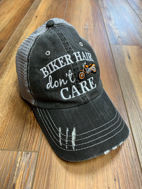 Vintage Look Mesh Back Trucker Hat - Biker Hair Don't Care - Orange
