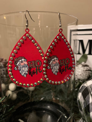Santa Ho Ho Ho Rhinestone Metal Teardrop Earrings - Red