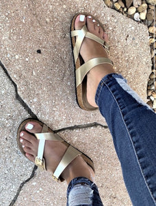 Gold Birk Style Double Buckle Sandals - In Stock Now