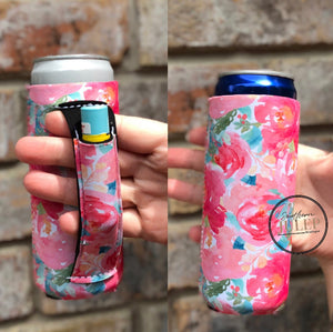 RESTOCKED-Summer Floral 12 oz. Slim Can Neoprene Cooler Koozie with Pocket Handle