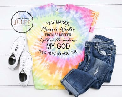 Southern Julep - Way Maker Premium Tie Dye Boutique Tee - Custom Printed Preorder Tees