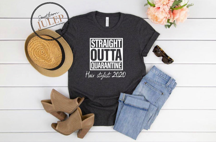 Hair Stylist Quarantine 2020 Heathered SS Boutique Tee - Custom Printed Preorder Tees