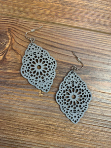 Faux Leather Cutout Boho Earrings - Grey
