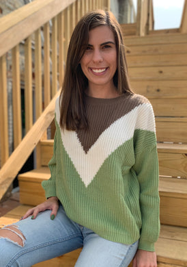 Jade Multi Color Chevron Relaxed Fit Ribbed Knit Sweater