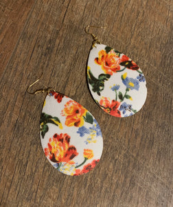 Vintage Floral Teardrop Statement Earrings