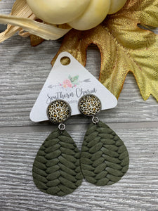 Leopard & Olive Braided Leather Teardrop Dangles