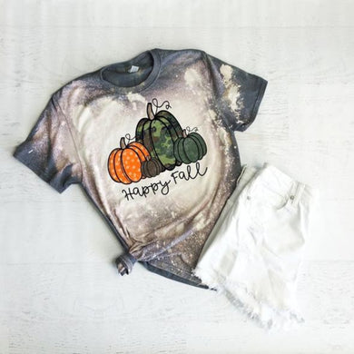 PREORDER-Happy Fall Camo Pumpkin Bleached Boutique Soft Tee