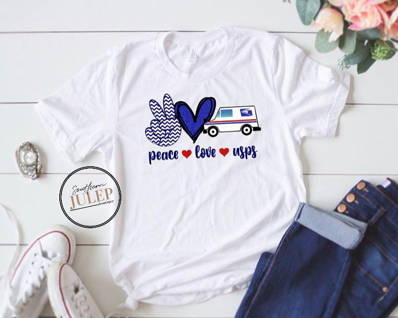 Peace Love USPS Truck SS Boutique Tee - Custom Printed Preorder Tees