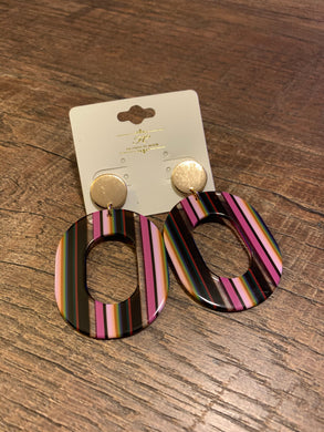 Retro Multicolor Striped Acetate Post Earrings