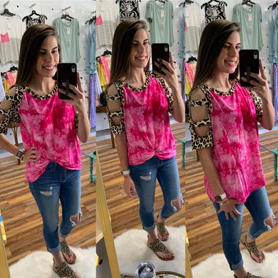 Plus Fuschia Tie Die & Leopard Raglan Top w/ Cut Out Sleeves  - USA MADE