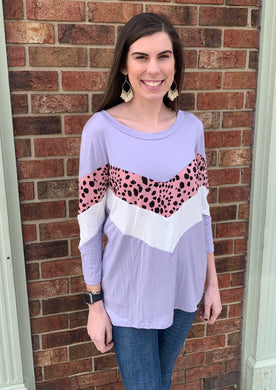 Lavender & Mauve Color Block Animal Print Bloused Top - USA Made