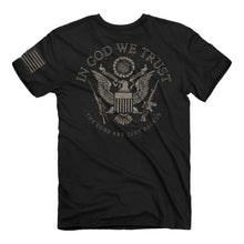 Load image into Gallery viewer, In God We Trust - The Guns Are Just Backup T-Shirt - American - Freedom - Eagle