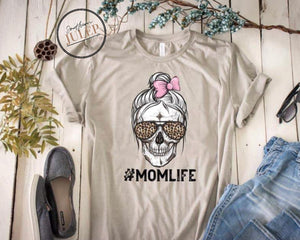 #Momlife Leopard Glasses Pink Bow SS Boutique Tee - Custom Printed Preorder Tees