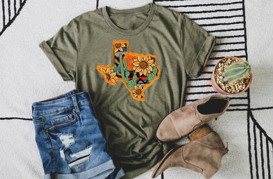 PREORDER - Western Texas Sunflower & Cactus Boutique Soft Tee