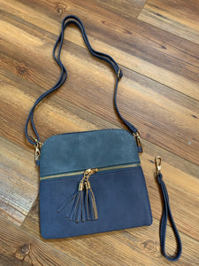 Tara Tassel Vegan Leather Crossbody Bag - Dark Blue/Indigo