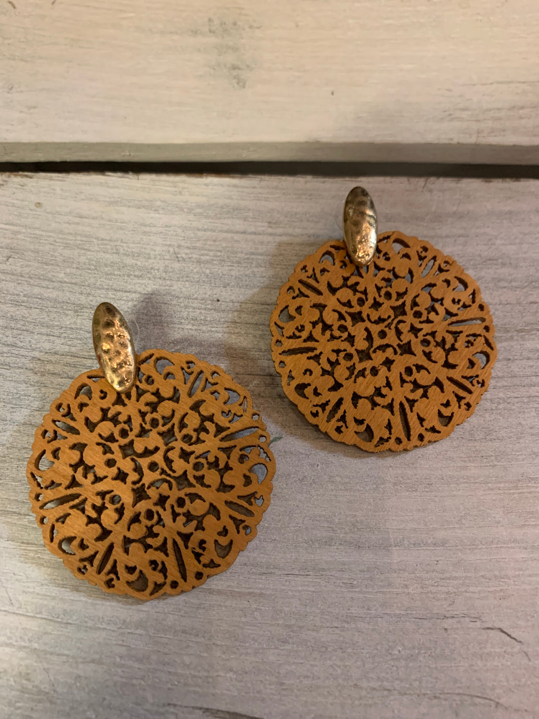Wood Cutout Disc Earrings - Burnt Orange